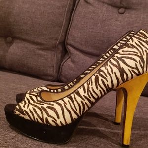 Zebra print, cow's hide and suede  open toed pumps